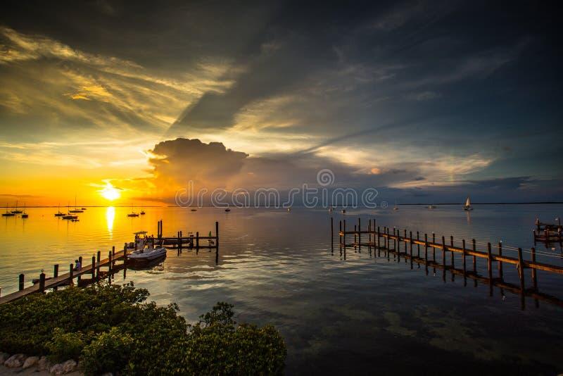 Ήλιος που θέτει πέρα από το λιμάνι με τις σκιές μέσω των σύννεφων στοκ εικόνες