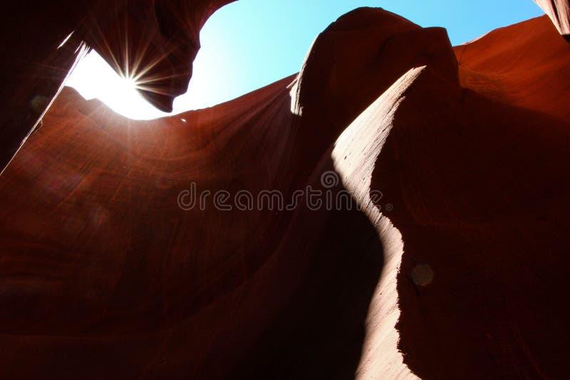 Ήλιος που κρυφοκοιτάζει στο χαμηλότερο φαράγγι αντιλοπών στοκ φωτογραφία