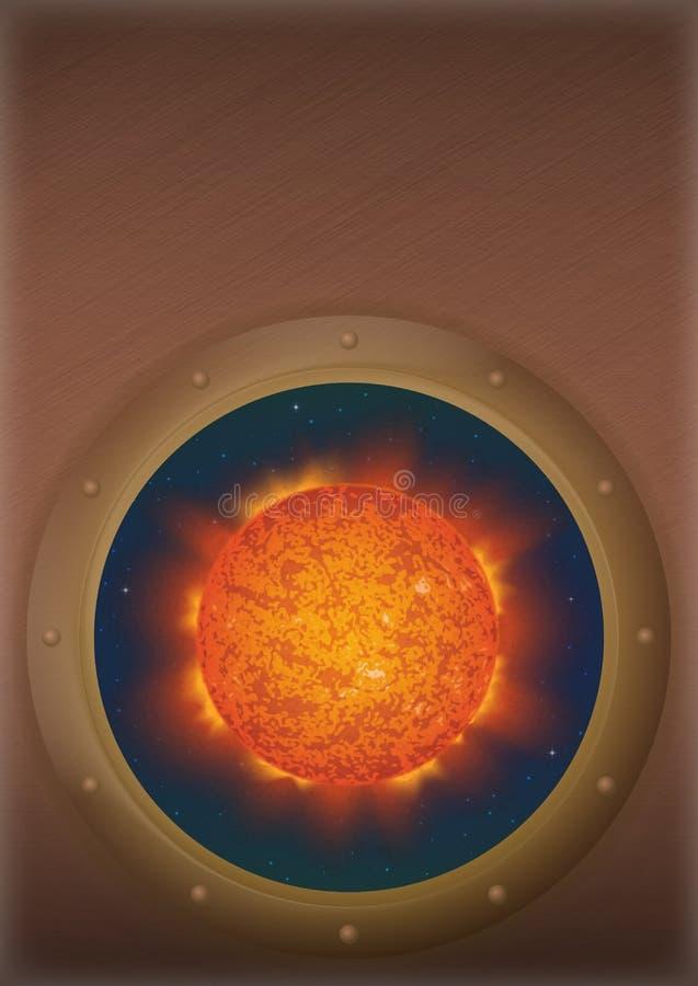 Ήλιος στο διαστημικό παράθυρο διανυσματική απεικόνιση