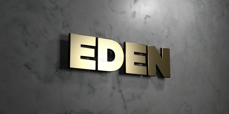 Ίντεν - χρυσό σημάδι που τοποθετείται στο στιλπνό μαρμάρινο τοίχο - τρισδιάστατο δικαίωμα ελεύθερη απεικόνιση αποθεμάτων απεικόνιση αποθεμάτων