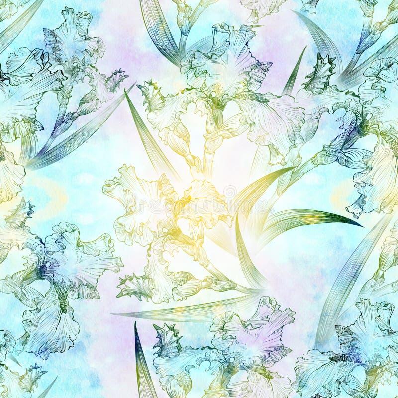 ίριδες πρότυπο άνευ ραφής Λουλούδια, φύλλα, μίσχοι και οφθαλμοί των ίριδων ελεύθερη απεικόνιση δικαιώματος