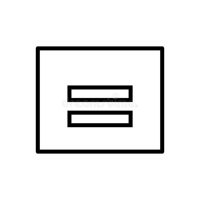 Ίσο διάνυσμα εικονιδίων που απομονώνεται στα στοιχεία άσπρου υποβάθρου, ίσων σημαδιών, γραμμών και περιλήψεων στο γραμμικό ύφος διανυσματική απεικόνιση