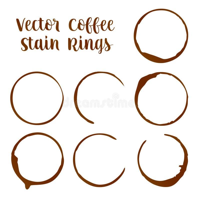 Ίχνη δαχτυλιδιών λεκέδων καφέ ή espresso από τις διανυσματικές απεικονίσεις φλυτζανιών διανυσματική απεικόνιση