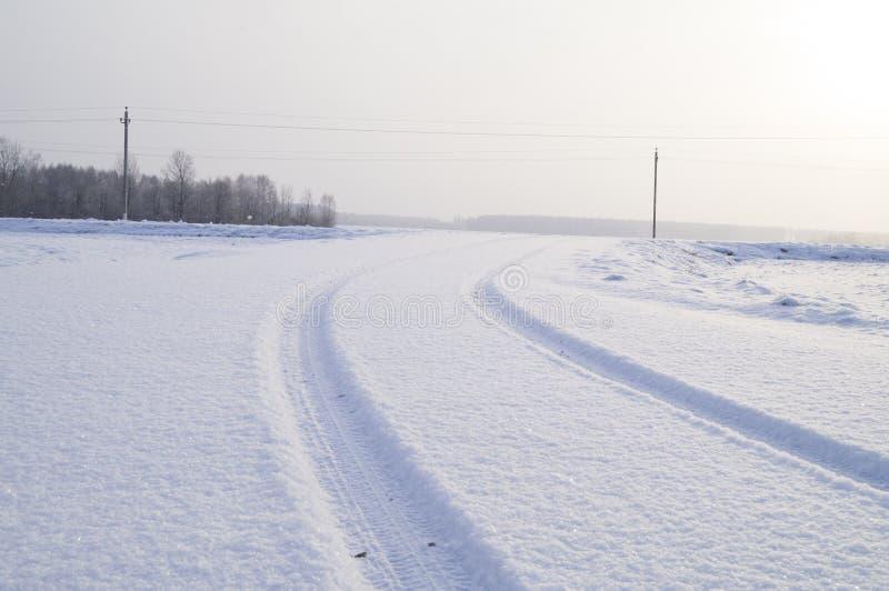 Ίχνη ενός φορτηγού σε έναν χιονισμένο δρόμο στοκ φωτογραφία με δικαίωμα ελεύθερης χρήσης
