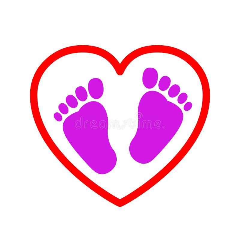 Ίχνη μωρών στο εικονίδιο καρδιών - διανυσματική απεικόνιση