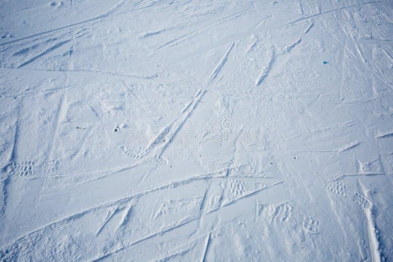 Ίχνη σκι και παπουτσιού στο χιόνι στοκ εικόνες