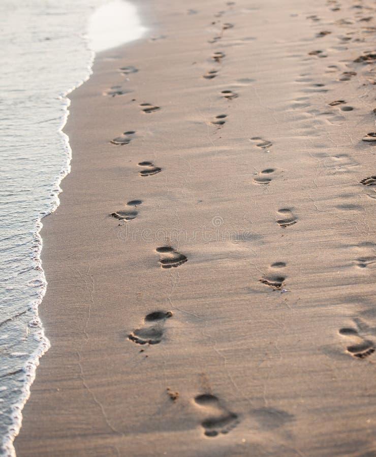 Ίχνη στην παραλία ενός άνδρα και μιας γυναίκας. στοκ φωτογραφία με δικαίωμα ελεύθερης χρήσης
