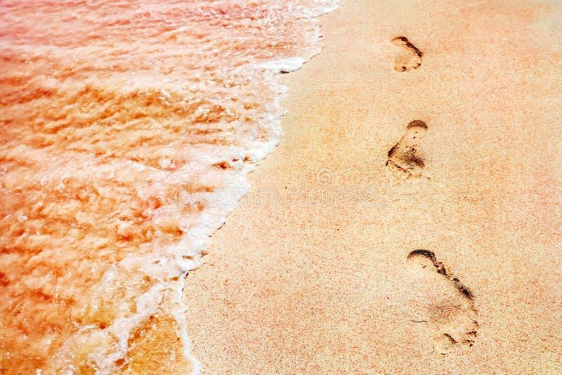 Ίχνη των ανθρώπων σε μια χρυσή ρόδινη άμμο στα μαλακά κύματα παραλιών του ρόδινου χρώματος Θαλάσσιος δημιουργικός στενός επάνω υπ στοκ φωτογραφία με δικαίωμα ελεύθερης χρήσης