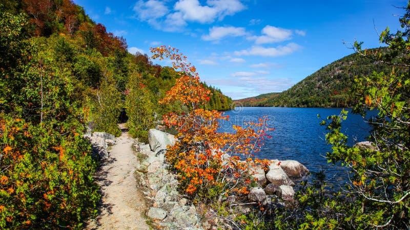 Ίχνος κατά μήκος της μακριάς λίμνης στο εθνικό πάρκο Acadia στοκ φωτογραφία με δικαίωμα ελεύθερης χρήσης