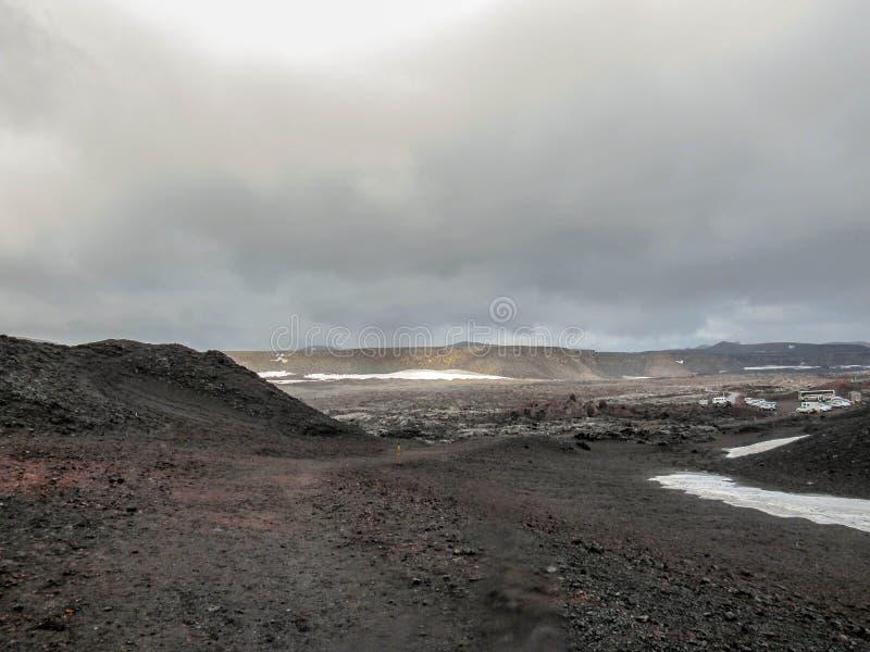 Ίχνος πεζοπορίας σε Askja, Χάιλαντς της Ισλανδίας, Ευρώπη στοκ εικόνες