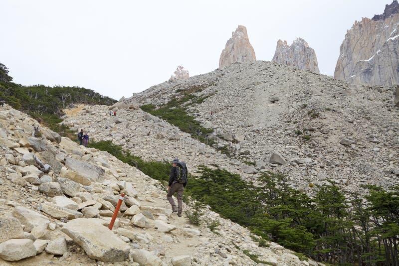 Ίχνος στους πύργους Paine στο Torres del Paine National πάρκο, της Χιλής Παταγωνία, Χιλή στοκ εικόνα