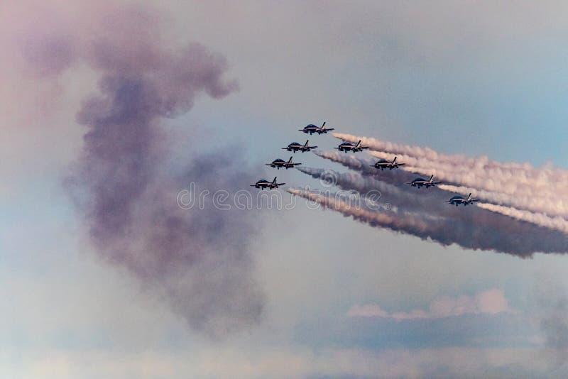 Αέρας-επίδειξη Frecce tricolore στοκ φωτογραφίες