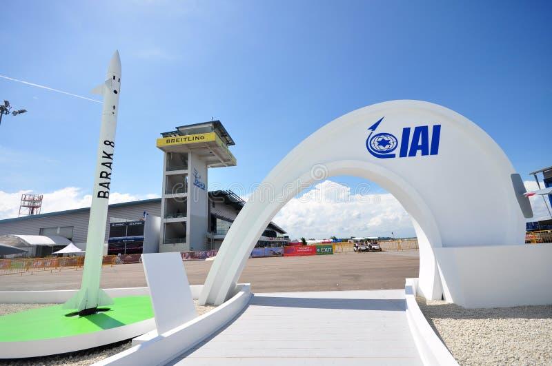 Αέρας barak-8 αεροδιαστημικών βιομηχανιών του Ισραήλ (IAI) και σύστημα άμυνας βλημάτων στη Σιγκαπούρη Airshow 2012 στοκ εικόνες