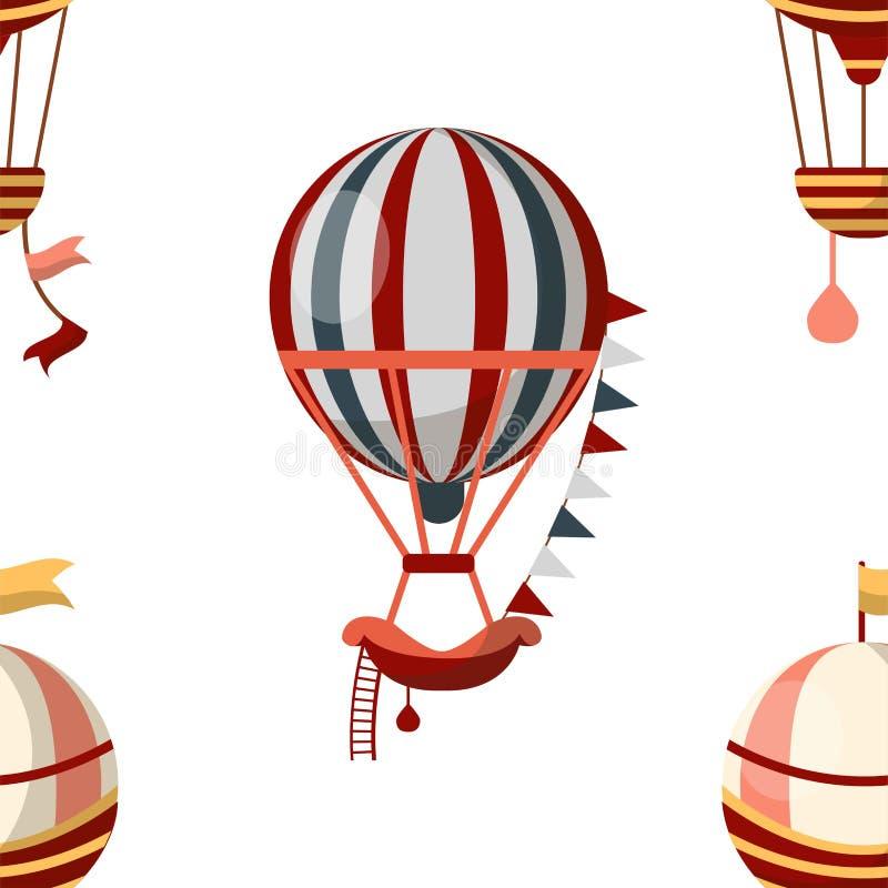 Αέρα μπαλονιών άνευ ραφής αεροσκάφη ή μεταφορά σχεδίων αναδρομικά διανυσματική απεικόνιση