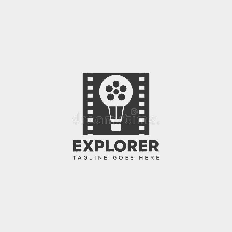 αέρα μπαλονιών κινηματογράφων κινηματογράφων ταινιών διανυσματική απεικόνιση προτύπων λογότυπων ρόλων απλή διανυσματική απεικόνιση