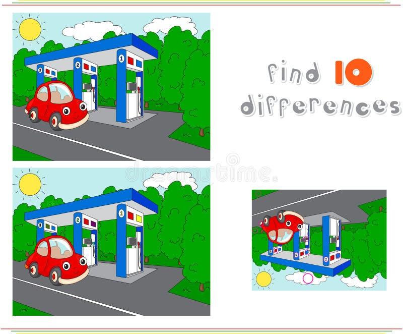 Αέριο ή πρατήριο καυσίμων στο δρόμο με το αυτοκίνητο Εκπαιδευτικό παιχνίδι διανυσματική απεικόνιση