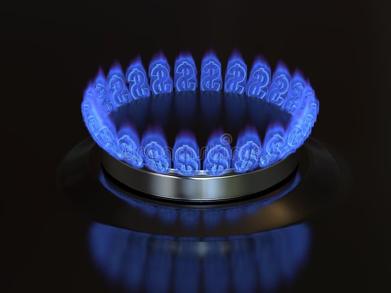Αέριο με τα εγκαύματα δολαρίων σημαδιών από τη σόμπα κουζινών ελεύθερη απεικόνιση δικαιώματος