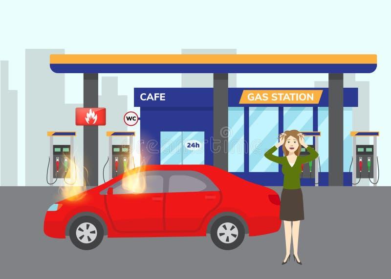 Αέριο που φλέγει το αυτοκίνητο στο πρατήριο καυσίμων αερίου με το σύμβολο καυσίμων και τη φοβησμένη επίπεδη διανυσματική απεικόνι απεικόνιση αποθεμάτων