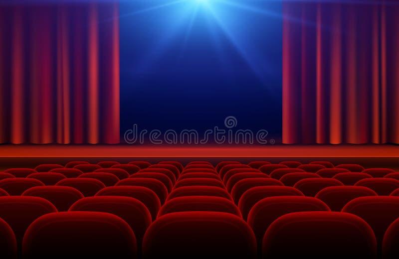 Αίθουσα κινηματογράφων ή θεάτρων με το στάδιο, την κόκκινη κουρτίνα και τη διανυσματική απεικόνιση καθισμάτων ελεύθερη απεικόνιση δικαιώματος