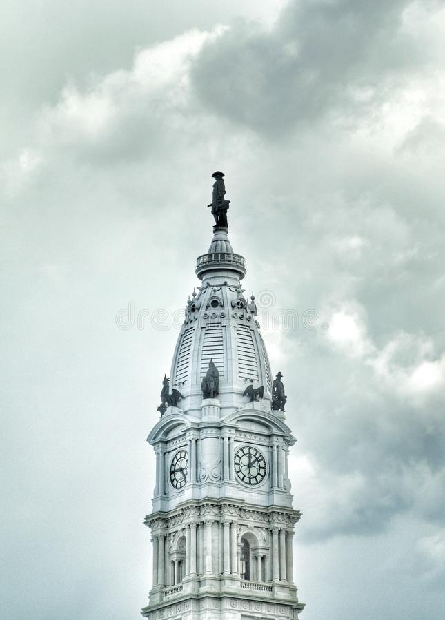 Αίθουσα πόλεων της Φιλαδέλφειας με το άγαλμα του William Penn στοκ φωτογραφία με δικαίωμα ελεύθερης χρήσης