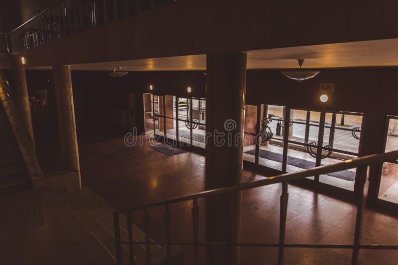 Αίθουσα στην είσοδο στο αθλητικό κέντρο Gerevich Aladar Nemzeti στο πρόγραμμα Βουδαπέστη 100 της Βουδαπέστης στοκ εικόνες