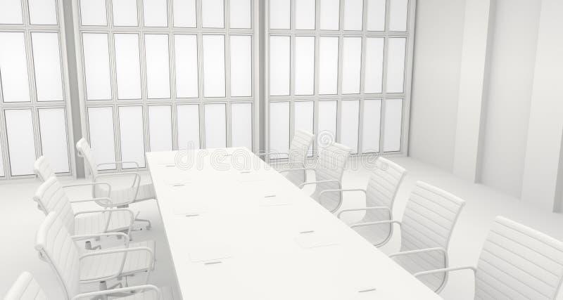 Αίθουσα συνεδριάσεων των γραφείων με τα μεγάλα παράθυρα τρισδιάστατη απόδοση ελεύθερη απεικόνιση δικαιώματος
