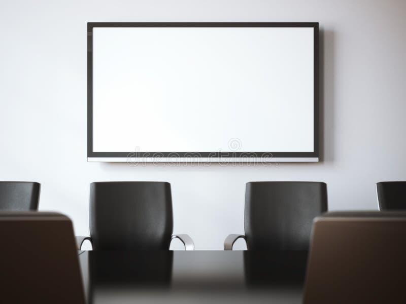 Αίθουσα συνεδριάσεων με την οθόνη TV τρισδιάστατη απόδοση διανυσματική απεικόνιση