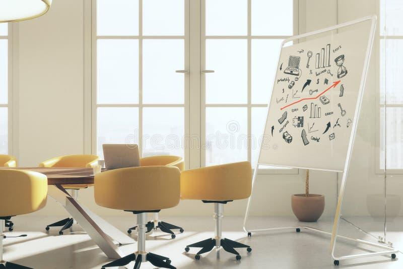 Αίθουσα συνεδριάσεων με το επιχειρησιακό σκίτσο απεικόνιση αποθεμάτων
