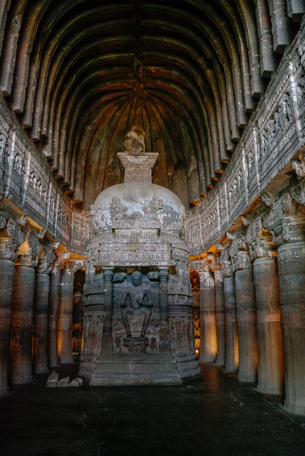 Αίθουσα chaitya-Griha ή προσευχής στη σπηλιά 26 Μέρος του 29 κομμένου οφθαλμού στοκ εικόνες