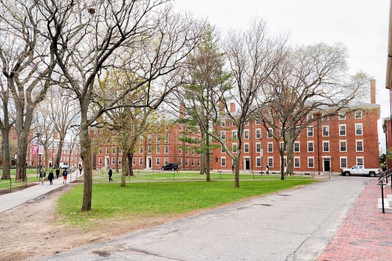 Αίθουσα Hollis και αίθουσα Stoughton στο ναυπηγείο Καίμπριτζ του Χάρβαρντ στοκ φωτογραφία