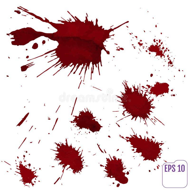 Αίμα splatter ή λεκές που καταβρέχεται το κόκκινο χρώμα που απομονώνεται με απεικόνιση αποθεμάτων