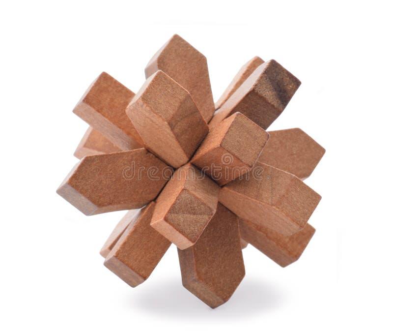 Αίνιγμα που γίνεται από το ξύλινο isolatd στο λευκό στοκ φωτογραφία με δικαίωμα ελεύθερης χρήσης