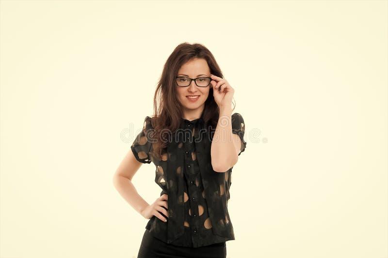 Αίσθημα προκλητικός Θηλυκή επιχειρησιακή έννοια Βέβαιος Διευθυντής επιχείρησης Eyeglasses γυναικών ελκυστικός δάσκαλος ή ομιλητής στοκ φωτογραφία
