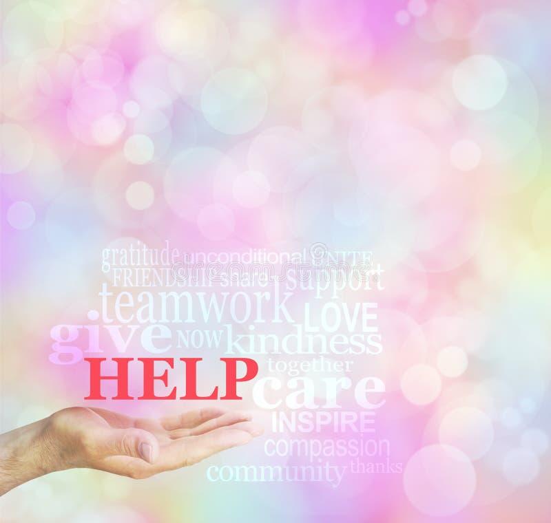 Αίτημα αύξησης Ταμείων για το υπόβαθρο σύννεφων λέξης βοήθειας στοκ εικόνα με δικαίωμα ελεύθερης χρήσης