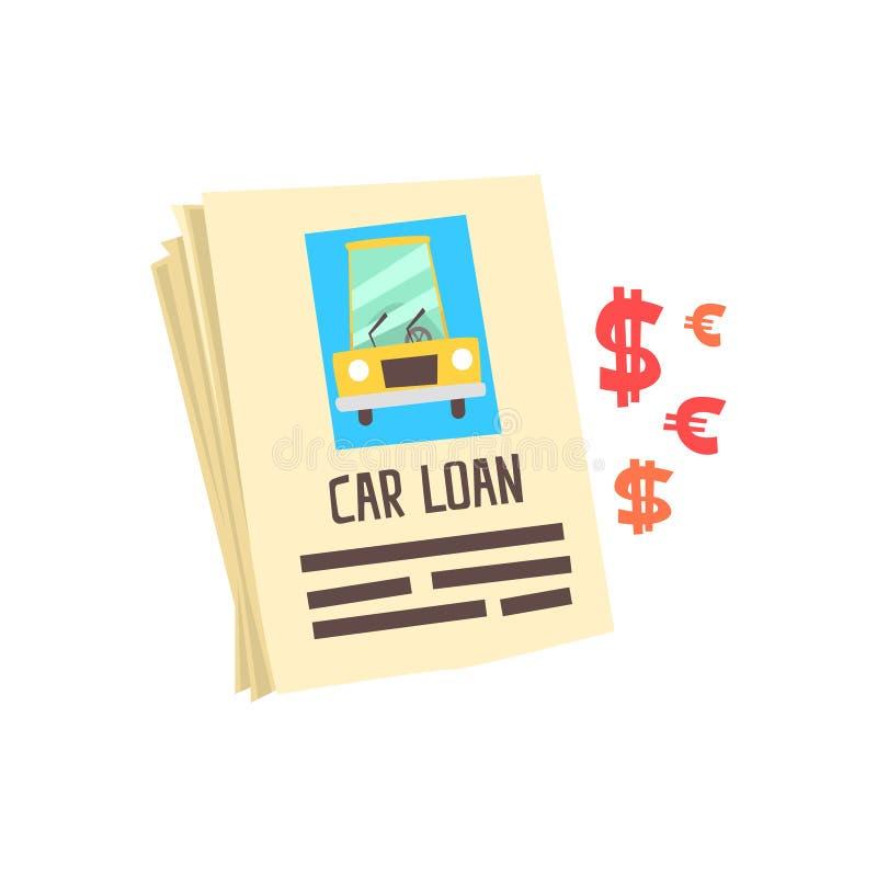 Αίτηση υποψηφιότητας δανείου αυτοκινήτων Ζωηρόχρωμη διανυσματική απεικόνιση κινούμενων σχεδίων απεικόνιση αποθεμάτων
