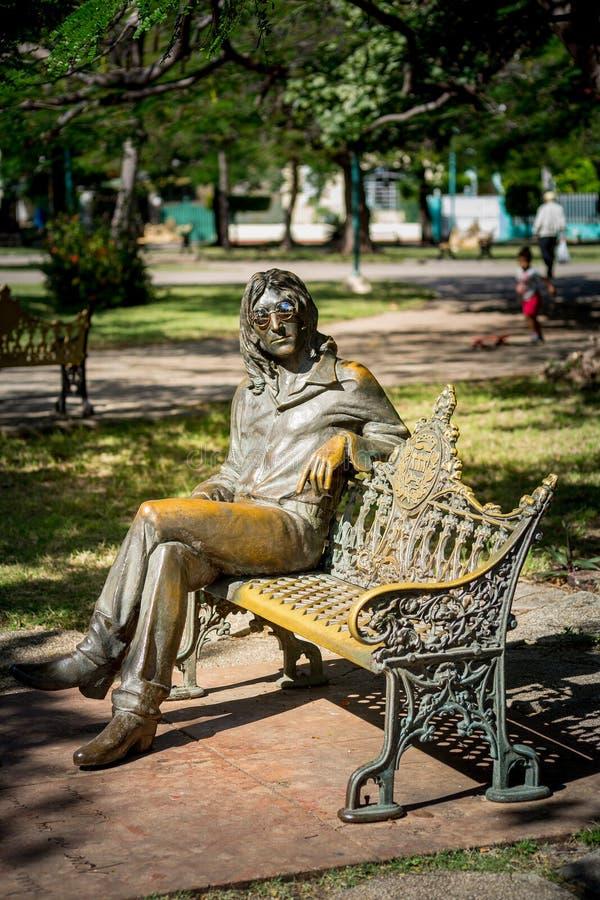 Αβάνα, Κούβα - 30 Νοεμβρίου 2017 Άγαλμα του John Lennon στην Αβάνα, Κούβα στοκ φωτογραφία