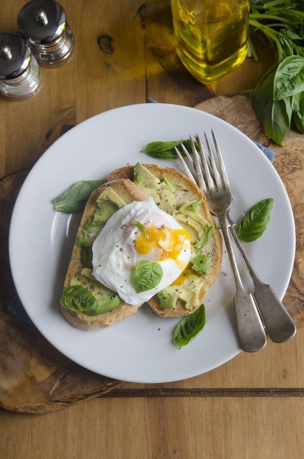 Αβοκάντο και αυγό στη φρυγανιά στοκ φωτογραφίες