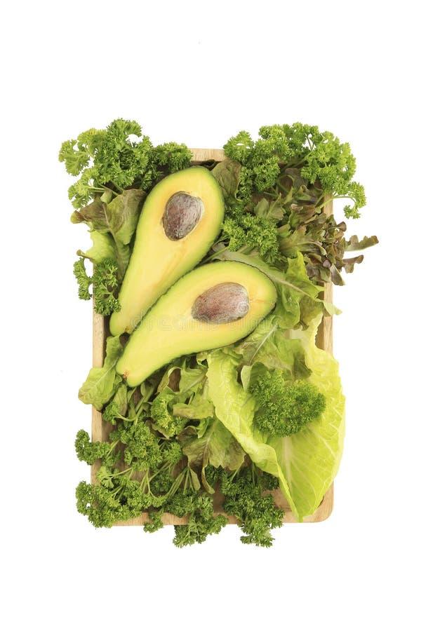Αβοκάντο και μίγμα της πράσινης σαλάτας στοκ εικόνες