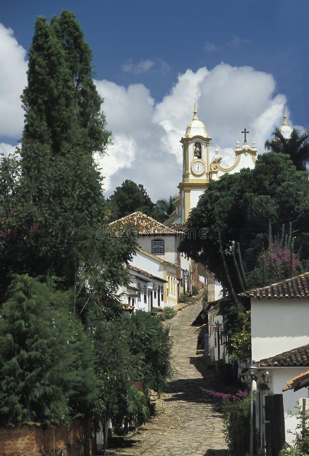Αβλαβής αποικιακή οδός σε Tiradentes, Minas Gerais, Βραζιλία στοκ φωτογραφίες