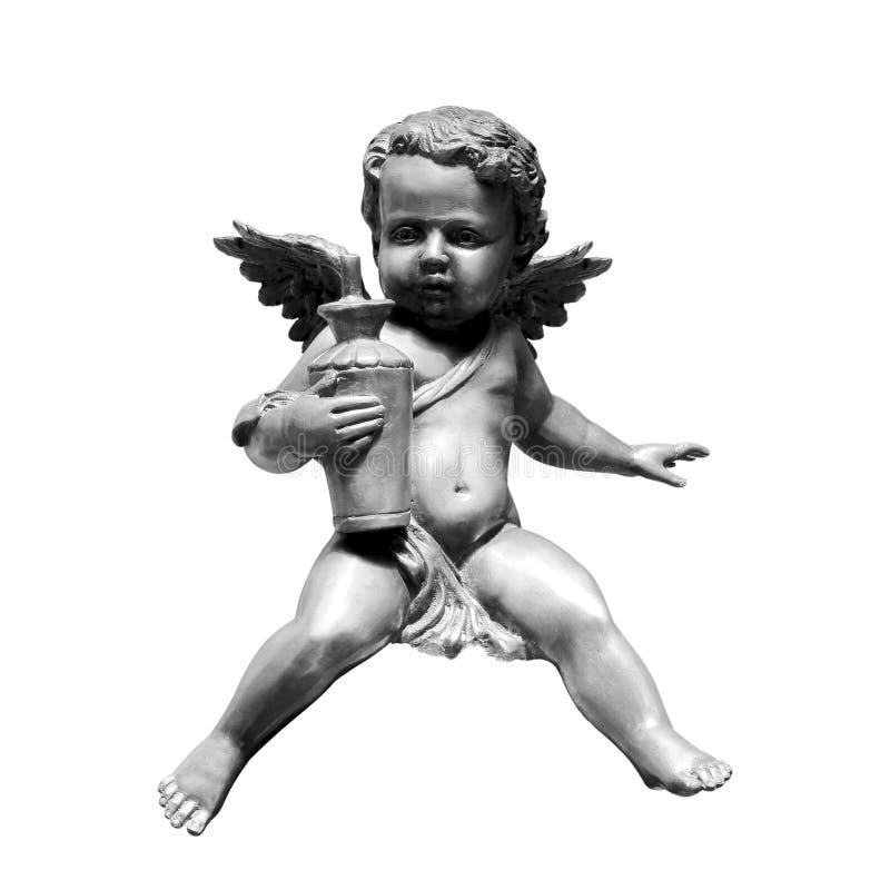 Αγάλματα χαλκού αγγέλου που απομονώνονται στο λευκό στοκ εικόνες