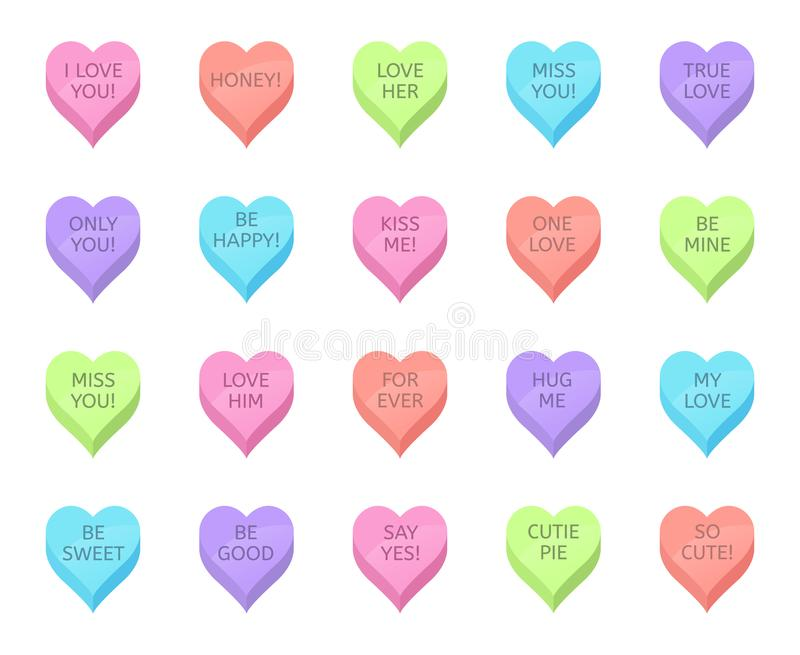 Αγάπες καραμέλες Βαλεντίνοι, γλυκά καρδιακά γλυκά και ρομαντική αγάπη παραδοσιακά γλυκά Υπέροχη καρδιά για τις γιορτές ελεύθερη απεικόνιση δικαιώματος