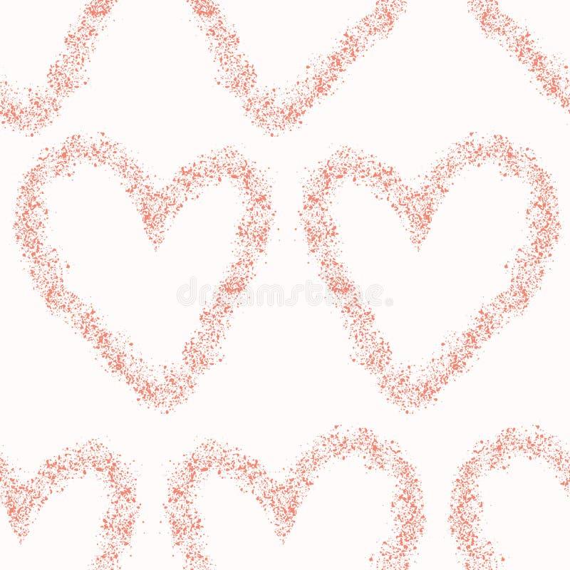 Αγάπης διανυσματικά άνευ ραφής σύνορα καρδιών κοραλλιών κατασκευασμένα απεικόνιση αποθεμάτων