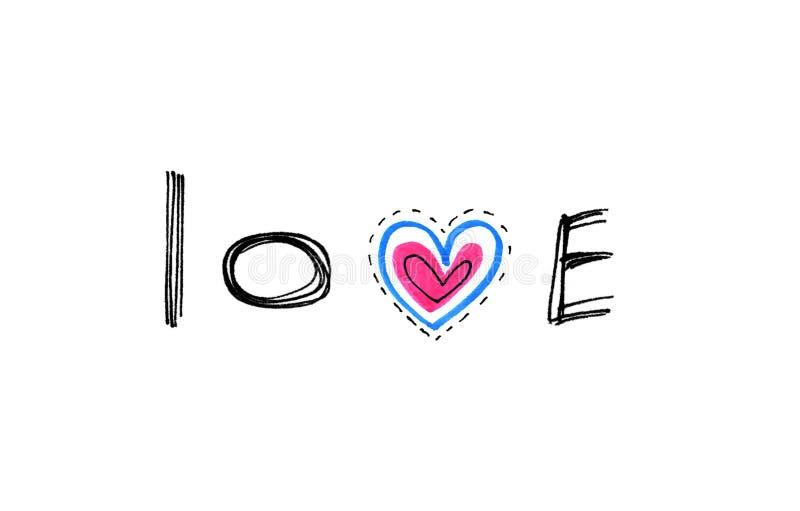 Αγάπη `` λέξης `` με την αφηρημένη καρδιά διανυσματική απεικόνιση