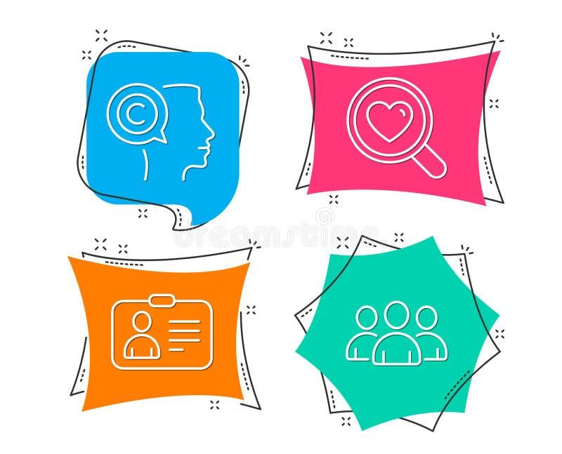 Αγάπη αναζήτησης, κάρτα ταυτότητας και εικονίδια συγγραφέων Σημάδι ομάδας Χρονολόγηση της υπηρεσίας, ανθρώπινο έγγραφο, Copyright απεικόνιση αποθεμάτων