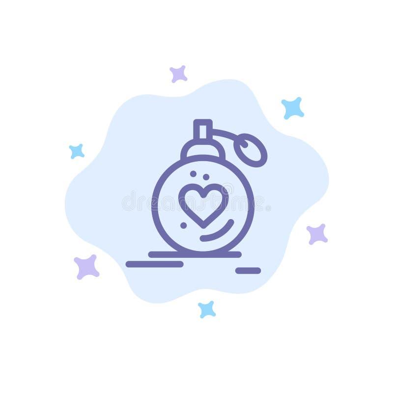 Αγάπη, γάμος, πάθος, άρωμα, βαλεντίνος, γαμήλιο μπλε εικονίδιο στο αφηρημένο υπόβαθρο σύννεφων απεικόνιση αποθεμάτων