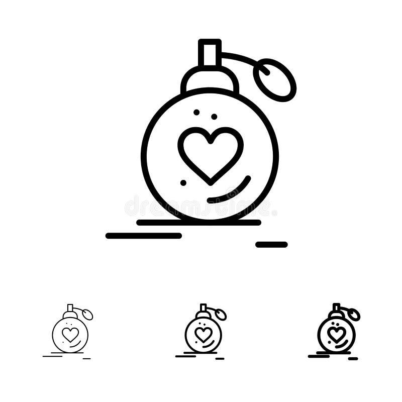 Αγάπη, γάμος, πάθος, άρωμα, βαλεντίνος, σύνολο εικονιδίων γαμήλιων τολμηρό και λεπτό μαύρο γραμμών ελεύθερη απεικόνιση δικαιώματος