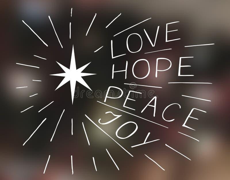Αγάπη εγγραφής χεριών, ελπίδα, ειρήνη, χαρά με το αστέρι στοκ εικόνα
