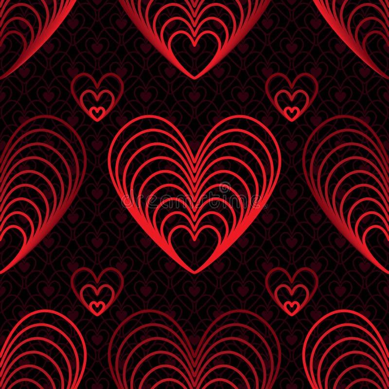 Αγάπη εννέα άνευ ραφής σχέδιο κόκκινων γραμμών διανυσματική απεικόνιση