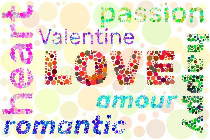 Αγάπη `, ερωτοδουλειά `, βαλεντίνος ` λέξης ` ` ` από τους κύκλους Διανυσματική ζωηρόχρωμη απεικόνιση απεικόνιση αποθεμάτων