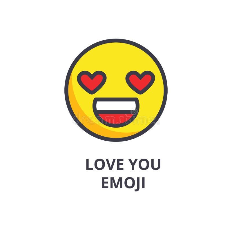 Αγάπη εσείς διανυσματικό εικονίδιο γραμμών emoji, σημάδι, απεικόνιση στο υπόβαθρο, editable κτυπήματα ελεύθερη απεικόνιση δικαιώματος